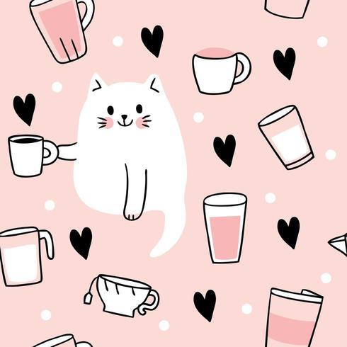 Gato bonito dos desenhos animados, bebendo café sem costura padrão vetor