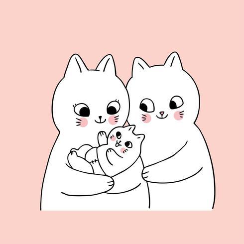 Gatos de família bonitos dos desenhos animados e recém-nascido vetor