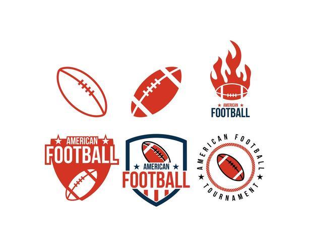 Conjunto de logotipo de esporte de futebol americano vetor
