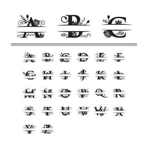 Monograma decorativo dividir fonte floral letra vetor
