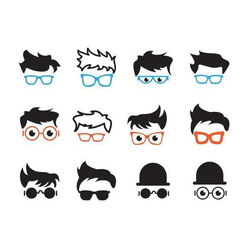 Conjunto de coleta de cabeça de nerd ou nerd vetor