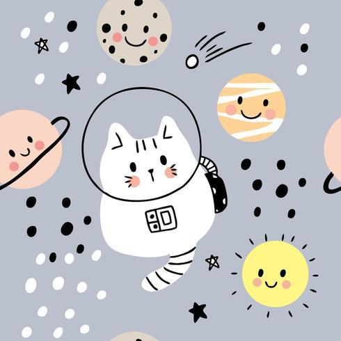 Gato bonito dos desenhos animados no padrão sem emenda de galáxia e planetas vetor