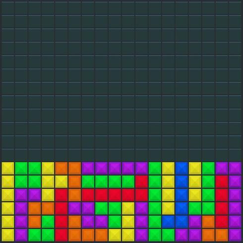 Modelo de quadrado de jogo de vídeo Tetris vetor