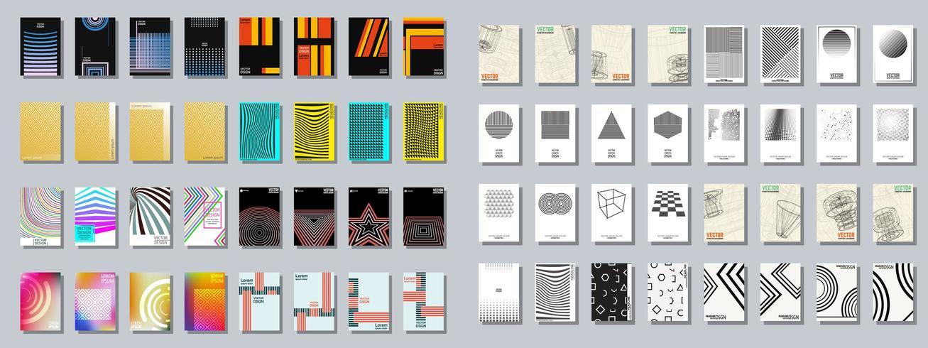 Conjunto de várias brochura de capa geométrica na moda vetor
