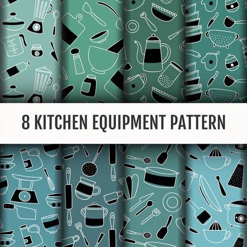 Conjunto de ferramentas de cozinha padrão. vetor