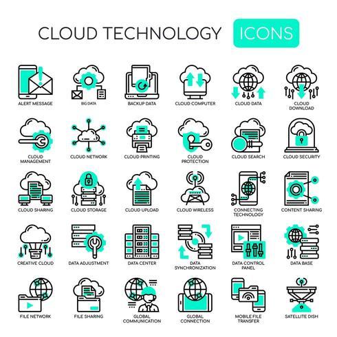 Tecnologia em nuvem, linha fina e ícones perfeitos de pixels vetor