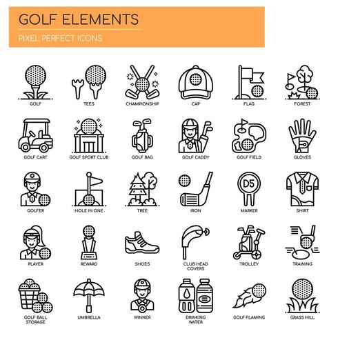 Elementos de golfe, linha fina e ícones perfeitos de Pixel vetor