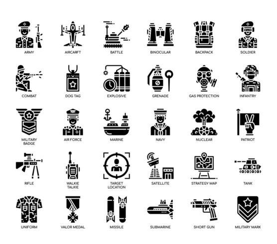 Elementos militares, ícones de glifo vetor