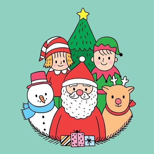 Papai Noel e amigos vetor