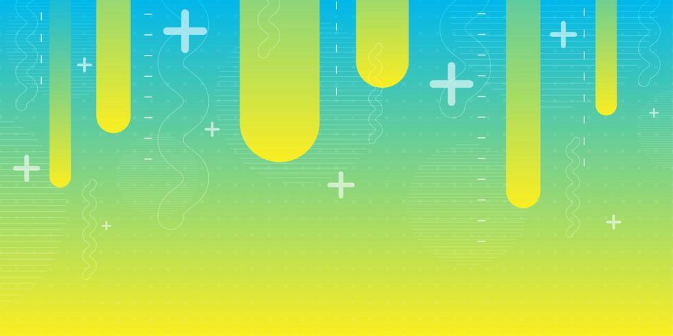 Fundo de forma abstrata gradiente amarelo verde azul vetor