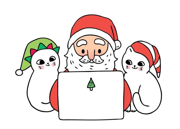 Desenhos animados bonitos Natal Papai Noel e gatos jogando laptop vetor