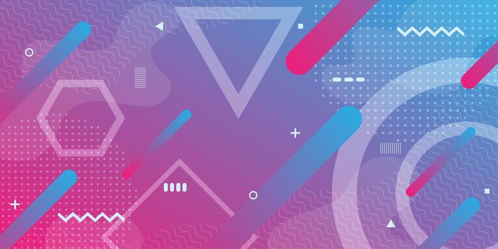 Fundo gradiente roxo rosa com formas geométricas retrô vetor
