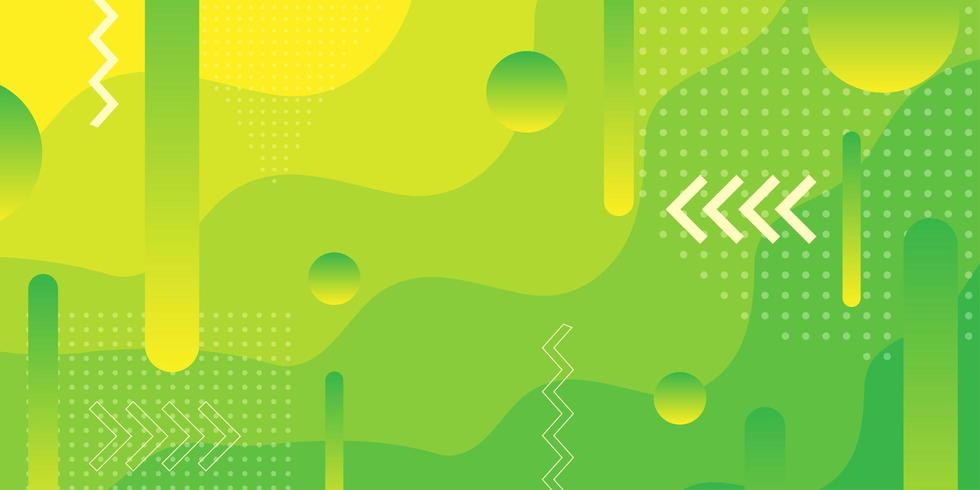 Fundo de formas sobrepostas gradiente verde e amarelo brilhante vetor