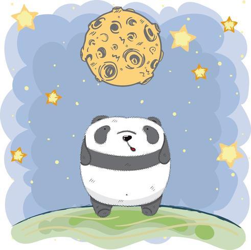 Panda bebê fofo sob a lua à noite vetor