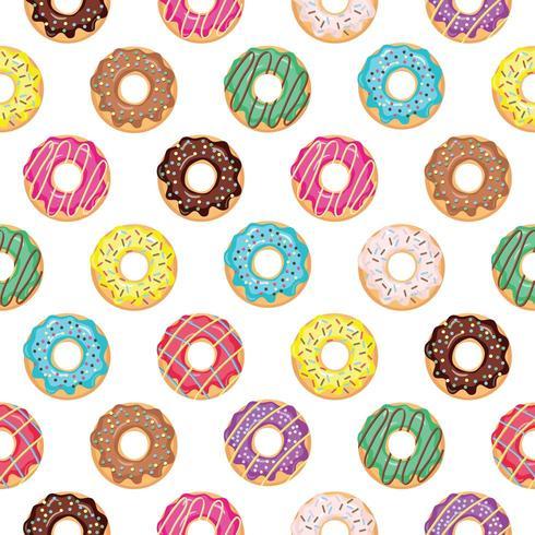 Padrão sem emenda com donuts vitrificados. vetor