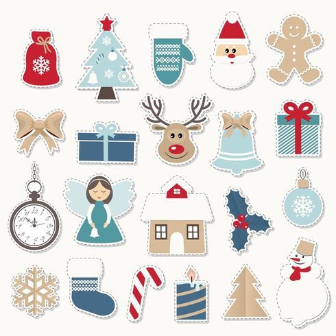 Conjunto de adesivos festivos de Natal e ano novo. vetor