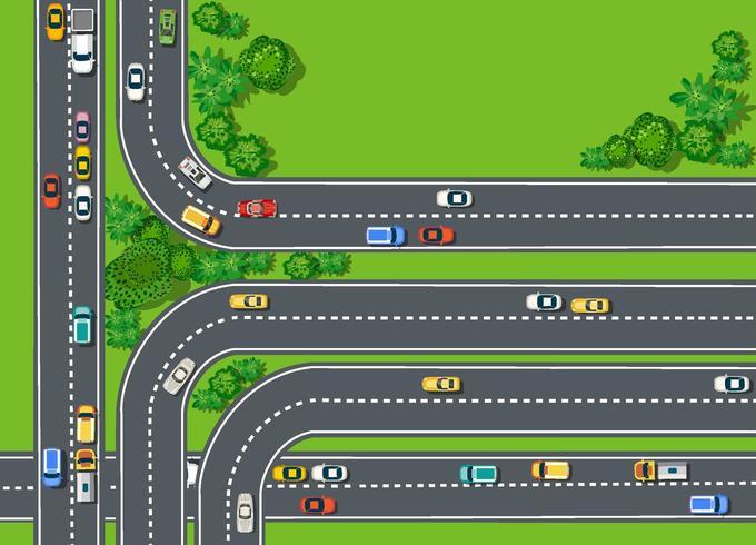 Vista superior da estrada com rodovias vetor