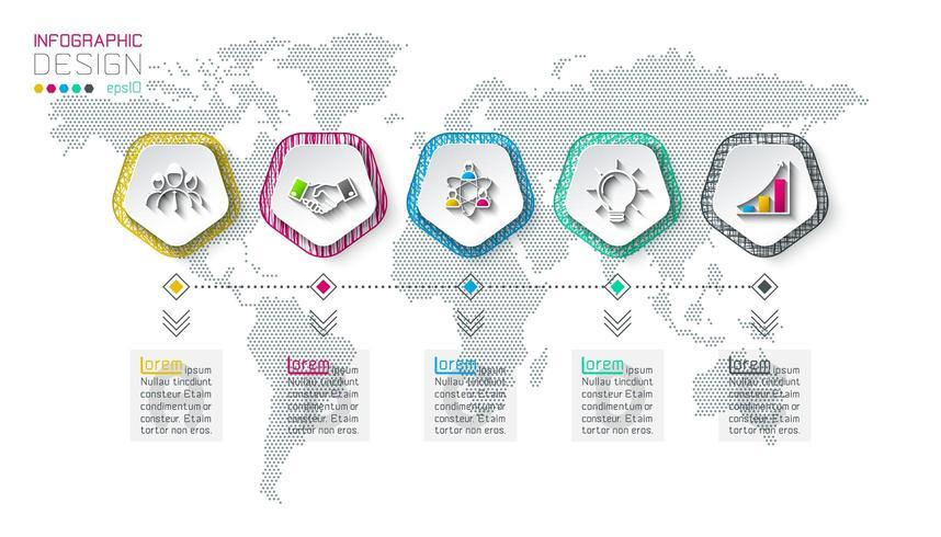 Pentágonos rotular infográfico com 5 etapas. vetor