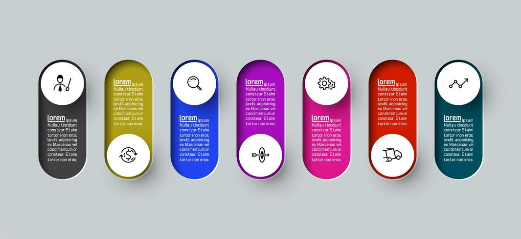 Rótulo de círculo longo 3d de infográfico de vetor, infográfico com processos de opções número 7 vetor