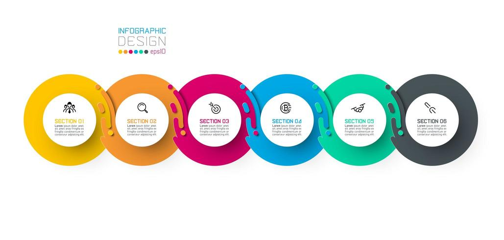 Seis círculo harmonioso infográficos. vetor