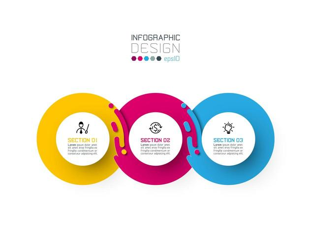 Três círculo harmonioso infográficos. vetor