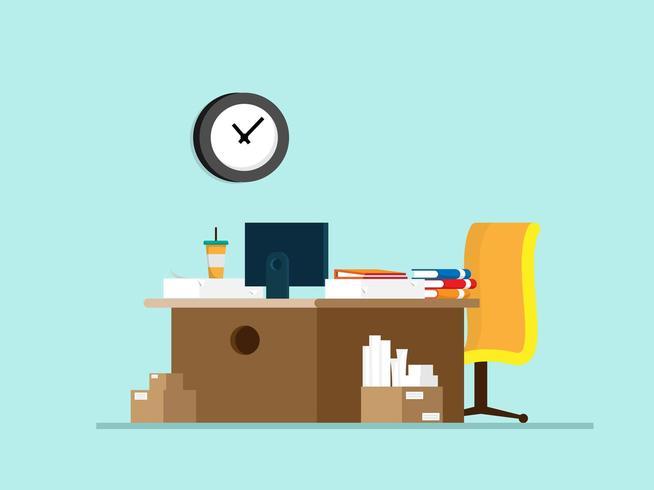 mesa de trabalho com material de escritório vetor