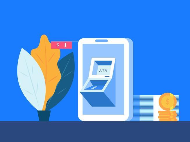 smartphone móvel com atm vetor