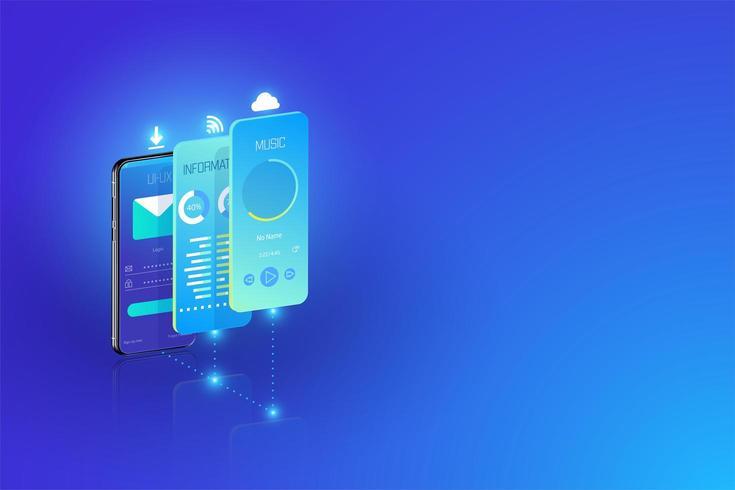 O desenvolvimento de aplicativos móveis e o projeto ux-ui cruzam plataformas, vetor de construção de aplicativos isométricos.