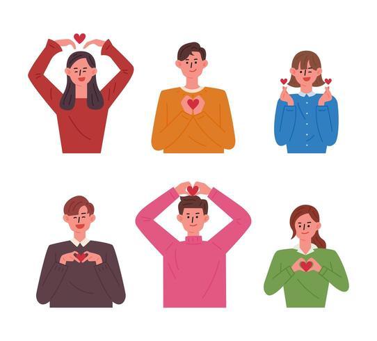 Pessoas fazendo várias formas de coração com as mãos. vetor