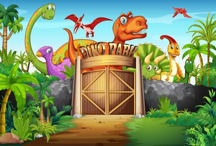 Dinossauros que vivem no parque vetor