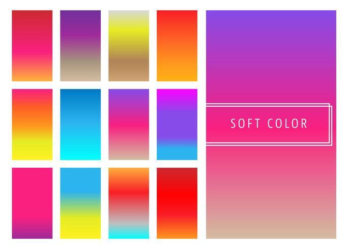 Conjunto de fundo gradientes coloridos suaves vetor
