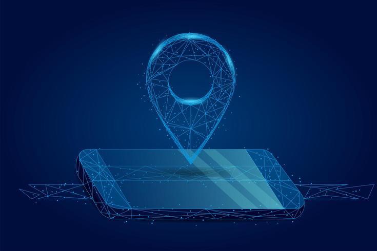 Linha de purê abstrata e pino de GPS ponto na tela do celular. vetor