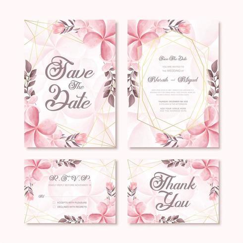 Modelo de cartão de convite de casamento lindo conjunto com decoração de flores em aquarela vetor