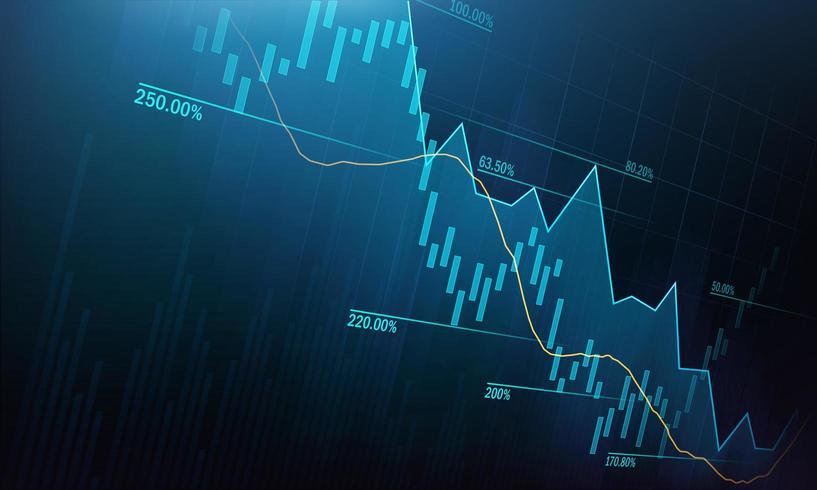 Mercado de ações ou gráfico de negociação forex no conceito gráfico vetor