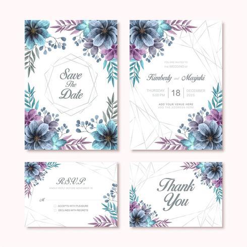 Elegante Aquarela Flor Decoração Cartão Convite Casamento Conjunto Modelo vetor
