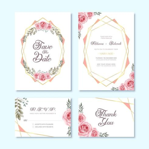 Cartão de convite de casamento com aquarela flor decoração floral vetor