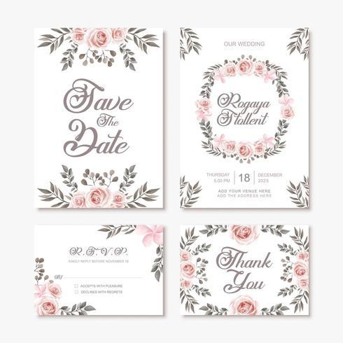 Modelo de cartão de convite de casamento vintage com decoração de flores em aquarela vetor