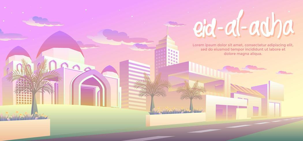 Eid Al Adha na cidade vetor
