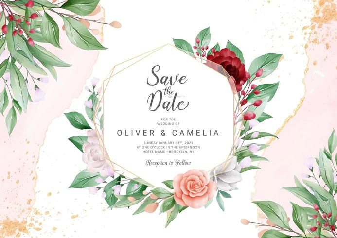 Conjunto de modelo de cartão de convite de casamento abstrato elegante vetor