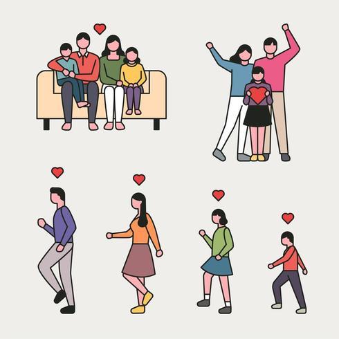 estilo de contorno feliz família conjunto de caracteres. vetor