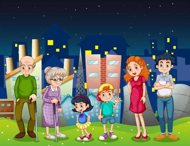 Uma família na cidade em frente aos prédios altos vetor