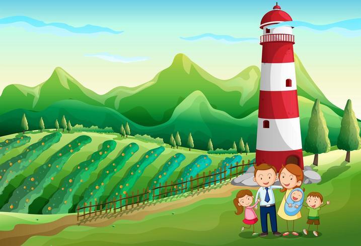 Uma família na fazenda com uma torre alta vetor