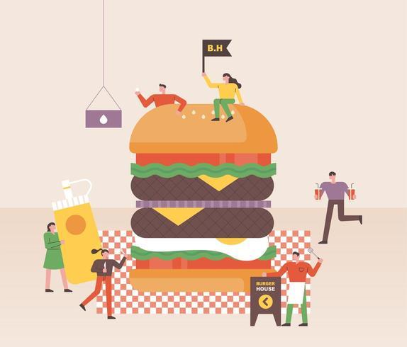 As pessoas pequenas estão fazendo hambúrgueres enormes em restaurantes de fast food. vetor