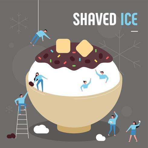 Sobremesa asiática de verão. Pessoas pequenas fazendo molho de feijão vermelho gigante rasparam gelo. vetor