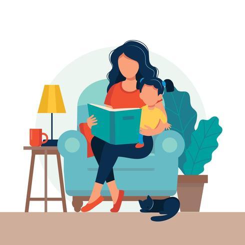 Mãe lendo para filha em estilo simples vetor