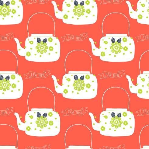 bule de chá de arte popular com impressão em bloco de flores vetor