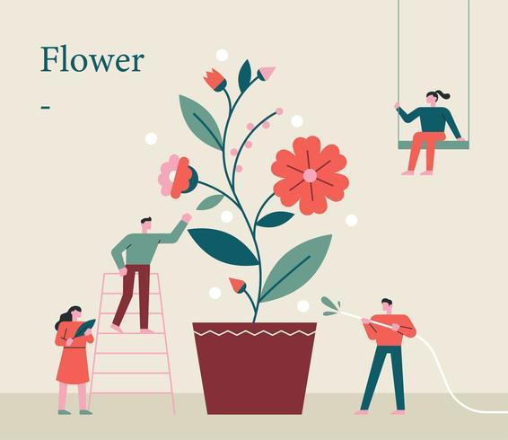 Pessoas pequenas estão cultivando flores gigantes juntas. vetor