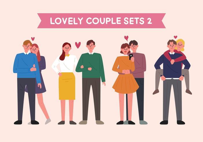 Conjunto de caracteres de casal vetor