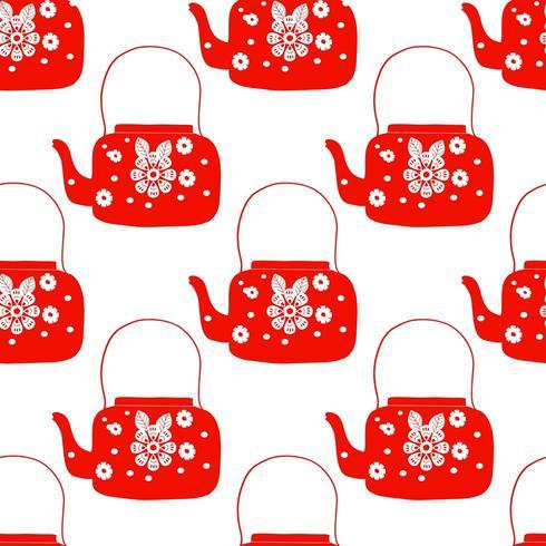 bule de chá de arte folclórica com flor vetor