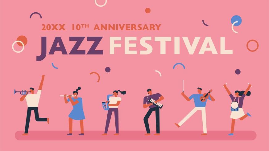 Cartaz festival de jazz em fundo rosa. vetor